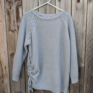 Fashion Nova Chunky Oversize Sweater Gray Size S/M